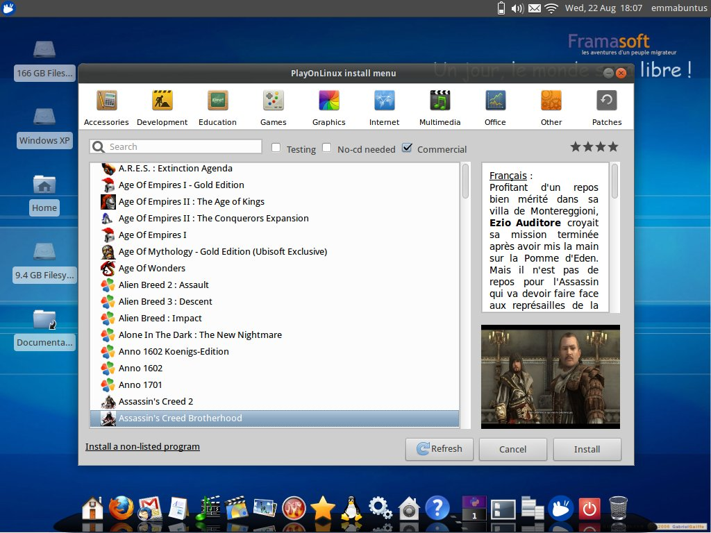 Emmabuntüs 2 improves the integration of Windows games